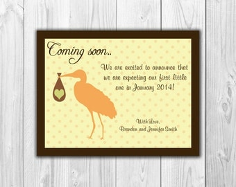 Pregnancy Announcement with Stork  (4 Count with Envelopes)