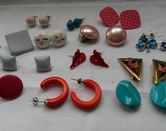 13 pair of vintage earrings, studs