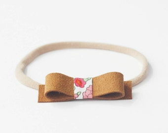 Suede Headband, Baby Headband, Small Leather Bow, Suede and Floral, Liberty of London, Simple Baby Headband, Baby Leather Headband, Mini
