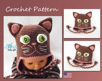 Kitty Hat Crochet Pattern, Crochet Hat Pattern, Earflap Winter Animal Hat, CP-305