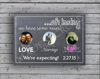 Chalkboard Baby Announcement - Digital File