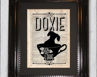 Dachshund Teacup Typographic print, Dictionary Art Print, Upcycled Book Art, Silhouette, dictionary page Wall Decor, Mixed Media Art