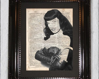 Bettie Page In Leather, Dictionary Art Print, Upcycled Book Art, Silhouette, dictionary page Wall Decor, Wall Hanging, Mixed Media Art