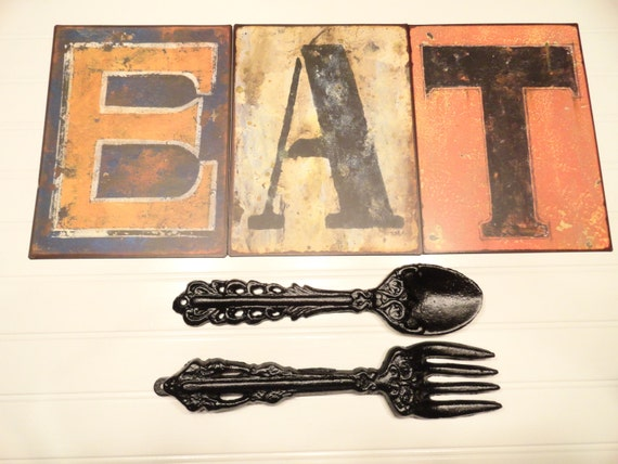 Kitchen Wall Decor Eat Sign Fork Spoon Rustic By JUNKINTIME