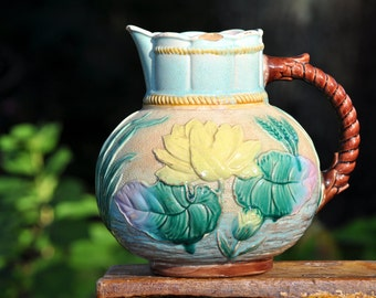 Large Beautiful Majolica Pitcher,Two Chips, Vintage pitcher, blue yellow water lily, majolica pottery, We have over 100 pc. in our shop#1503