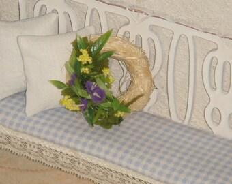 Dollhouse Shabby flowers wreath. 1:12 Dollhouse miniature hand made wreath.
