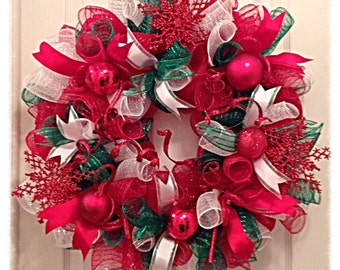 Christmas Snowflake Red, Green and White Deco Mesh Wreath/Christmas Wreath/Red, Green and White Wreath/Snowflake Christmas Wreath