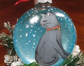 Cat Ornament, Cat Art, Holiday Ornament for Anytime