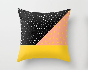 Black Polka Dot Peach Pit Pillowcase