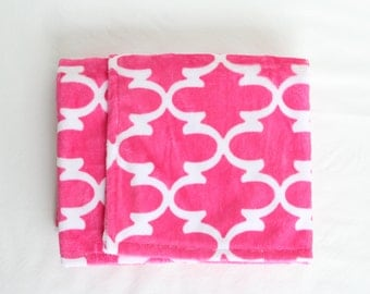 Baby Blanket made with Bright Pink Lattice Cuddle Minky