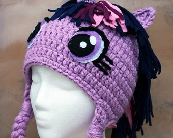 Twilight sparkle inspired mlp my little pony made to order crochet hat