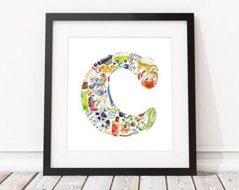 C is for...  Alphabet print - Children's Art Print, Signed