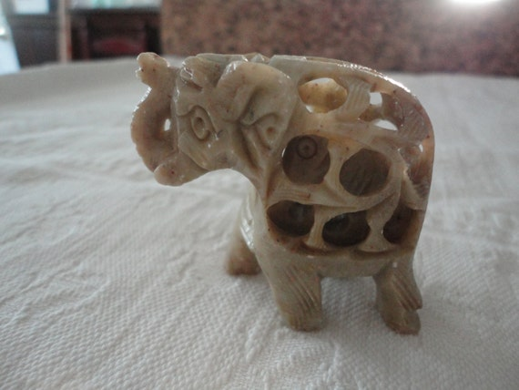 Carved Soapstone Elephant Figurine Carrying Baby Elephant