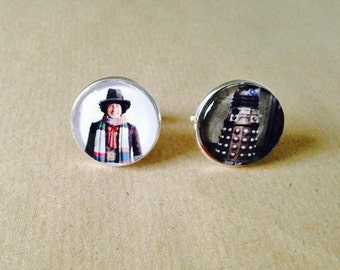 Dr Who Cufflinks -Tom Baker / Dalek - Unique Beautiful handmade
