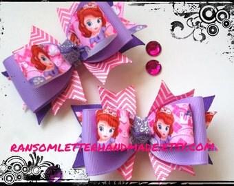 Pequeño niño arcos inspirados en Sofía que el primer color de rosa y lavanda púrpura arco espiral arco conjunto a bebé pequeño ligero pinzas de pelo