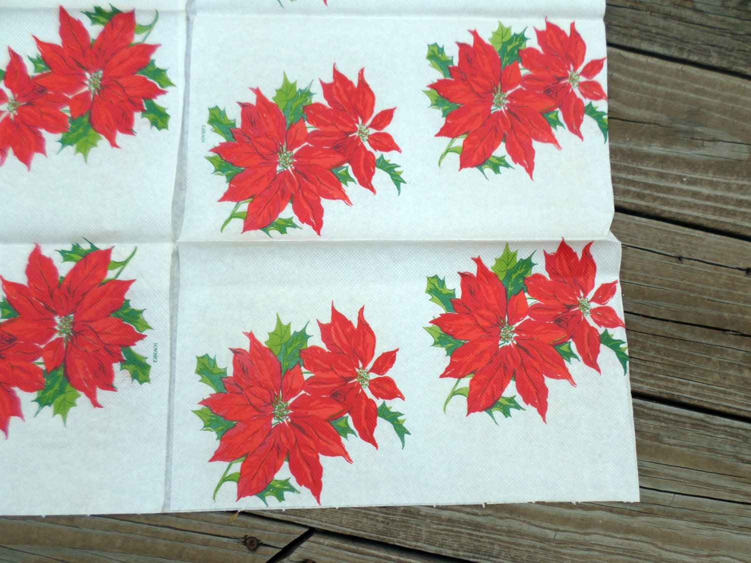 1960s christmas decor vintage paper poinsettia print folded for 1960s decoration