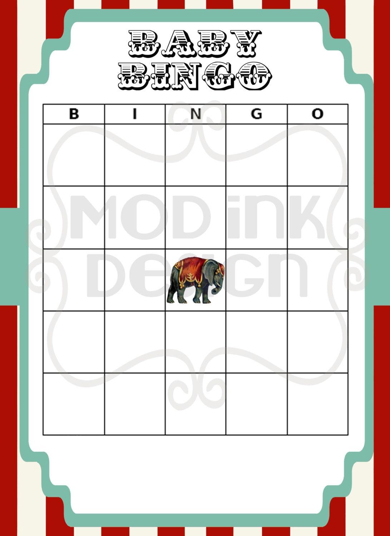 Circo Vintage Baby Bingo tarjetas rojo turquesa y blanco