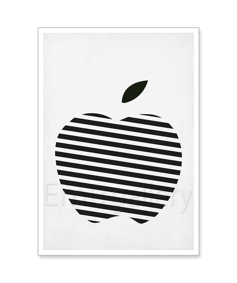 Fruit retro poster black and white striped apple minimalist for Affiches scandinaves