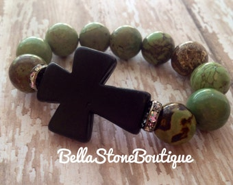 Large Black cross with crystals and green turquoise stone stretch bracelet,RTS