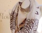 Beautiful birthday gift,Wool infinity scarf,cute black birds and trees  print scarf, handmade scarf,Modern black with gray Wool scarf