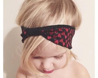 Heart  baby Headband, valentines headband, lace headband, baby headband