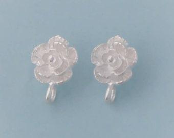 Sterling Silver Rose Post Stud Earring Finding with Loop, 1 Pair