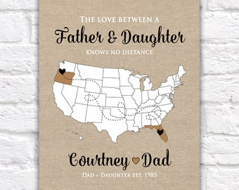 Gift for Dad, Father, Grandpa - Custom, Gifts for Dad, Gift from Daughter, Son, Military Dad, Long Distance Family, Daddy