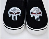 Mens Shoes, Mens Shoes-The Punisher, The Punisher Shoes-Men, The Punisher, Custom Mens Shoes, Fan Art, Custom Gifts for Men, Comic Con Shoes