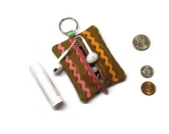 Small zippered coin purse, stripes pouch keychain, brown coin pouch, zippered pouch, pouch keychain, small coin bag, change purse, key pouch