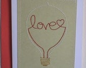 Unique Stitched Love Light Bulb Blank Note Card