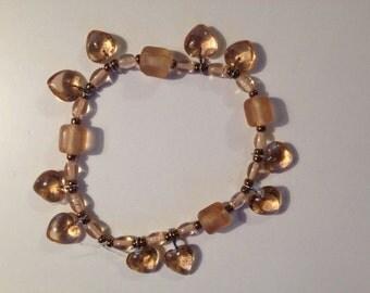 Peach Glass Bead and Bronze Bracelet