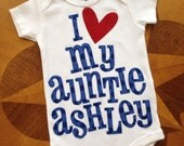 Blue polka dot and red heart personalized baby onesie