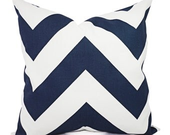 Two Navy Decorative Pillow Covers - Two Navy Chevron Throw Pillow Covers - Chevron Pillow - Navy Accent Pillows - Decorative Pillow