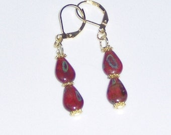 Handcraft  Red Jade Dangles Pierced Earrings with Gold Plated Hooks and Findings,Double Tear Drops