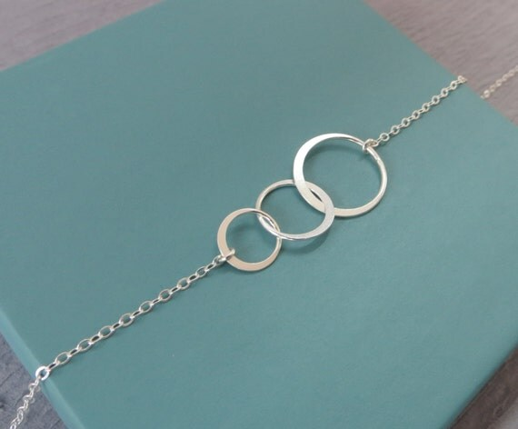 three circle necklace 3 circle sterling silver three