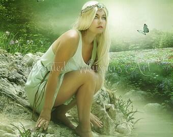 beautiful fairy print, elf woman art, fantasy painting, beautiful blonde print, FANTASY artwork, enchanted whispers art, green painting, 5x7
