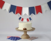 New England Patriots Inspired Cake Bunting Pennant Flag Topper & Wall Banner Birthday - Any NFL, MLB, NBA, Nhl team, any color!