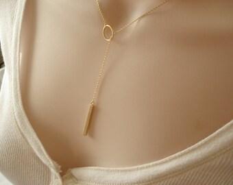 Adjustable Gold Lariat Bar necklace...Karma Vertical bar, dainty minimalist, everyday simple jewelry, sorority, wedding, bridesmaid gift