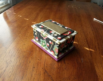 Handmade jewelry box - midnight plum flowers