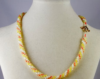 Russian Spiral Beaded Necklace in Pale Orange, Yellow and White