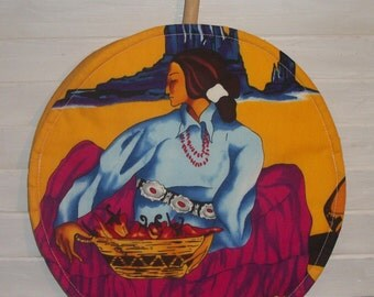 """Native American Woman Chili Peppers Woven Basket Gold Desert 10"""" Round Tortilla Microwave Warmer Taco Tuesday Original Design by HCF&D"""