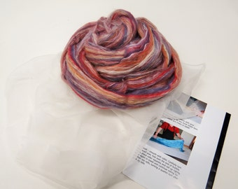 Nuno felting Scarf Kit,  Color: Mulberry