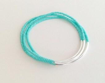 Set of 3 Turquoise bracelets, seed bead bracelet, aqua bracelet, stretchy bracelet, noodle seed bead bracelet, minimalist bracelet,stacking