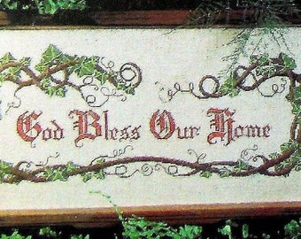 God Bless Our Home completed Cross Stitch Sampler