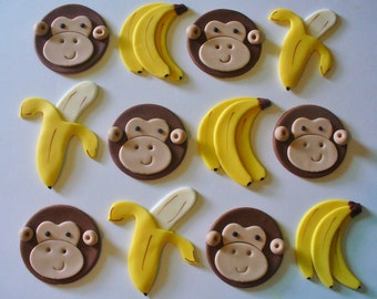 12 MONKEYS and BANANAS Edible Fondant Cupcake Toppers