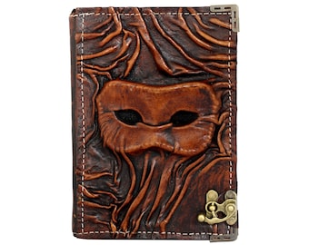 Embossed Eye Mask On A Brown Leather Journal / Notebook / Diary / Sketchbook / Leatherbound
