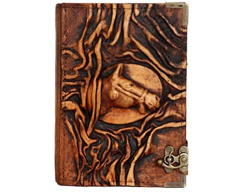 Embossed Horse Emblem On A Brown Leather Journal / Notebook / Diary / Sketchbook / Leatherbound