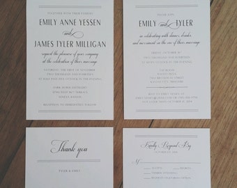 Classic Regal Wedding Invitation & Rsvp card PRINTED and SHIPPED