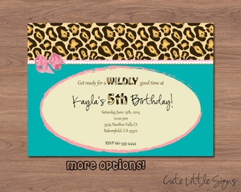Leopard Birthday Invitation Digital Download