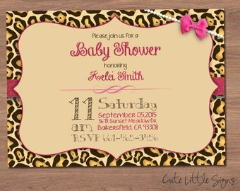 Leopard Baby Shower Invitation Digital Download